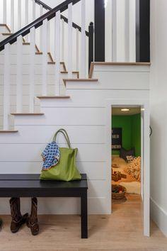 under stair storage--Danalda Residence - transitional - Staircase - Los Angeles - Von Fitz Design