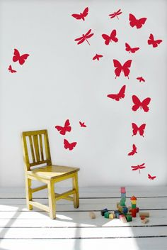 Ferm Living Butterflies Red Wall Decals, available at #polkadotpeacock. #peacocklove #FERMliving