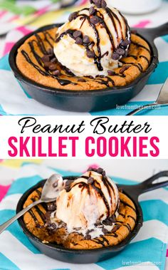 Peanut Butter Chocolate Chip Skillet Cookies
