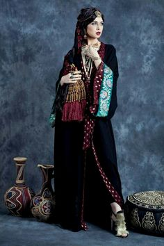 Queen of Spades . The Maharani Collection (Spring/Summer Great for coverup. Arab Fashion, Muslim Fashion, Modest Fashion, Fashion Outfits, Womens Fashion, Kaftan Abaya, Black Abaya, Mode Abaya, Hijab Style