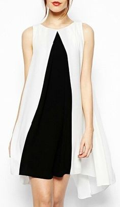 Buy ASOS Swing Dress With Contrast And Dip Hem at ASOS. With free delivery and return options (Ts&Cs apply), online shopping has never been so easy. Get the latest trends with ASOS now. Robe Swing, Swing Dress, Dress Skirt, Dress Up, Dress Work, Plain Dress, Dresses Short, Casual Dresses, Fashion Dresses