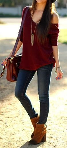 Dark brown sweater denim pants purse with long boots.. Like the off the shoulder