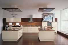 #Kitchen Idea of the Day: Modern Cream-Colored Kitchen with TWO islands. (By ALNO, AG)