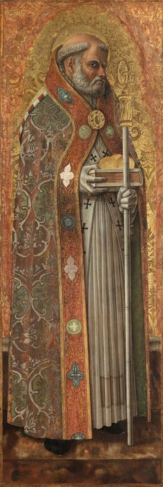 Born in the third century AD, Nicholas was ordained a priest and rose to the rank of bishop. Crivelli outfitted this saint in the ceremonial attire of his office. Nicholas peers suspiciously from a richly embroidered cope as if encased in liturgical armor. Carlo Crivelli, Saint Nicholas of Bari, 1472, on panel, 96.2 x 62 cm, Cleveland Museum of Art, Gift of the Hanna Fund 1952.111, Photo: © The Cleveland Museum of Art.