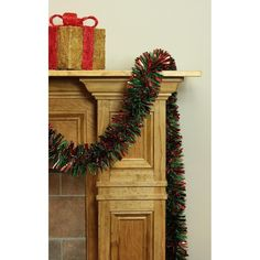 12' Soft and Sassy Red and Green Wide Cut Christmas Tinsel Garland - Unlit