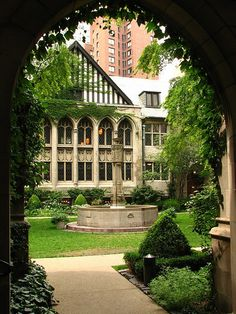 Fourth Presbyterian Church in Chicago - courtyard. Magical at night, particularly in the winter.  by rwb2, via Flickr