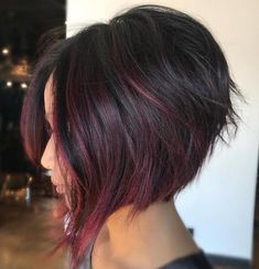 Inverted Bob With Magenta Ribbons