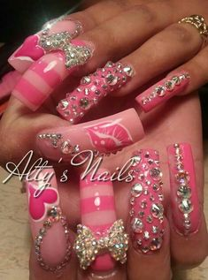 Pin by valerie okeefe on fancy nails rhinestones in 2019 Long Nail Designs, Beautiful Nail Designs, Beautiful Nail Art, Nail Art Designs, Nails Design, Crazy Nails, Fancy Nails, Love Nails, Rhinestone Nails