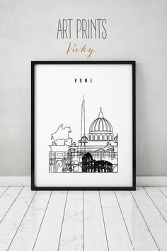 Rome art print poster skyline minimalist black & by ArtPrintsVicky