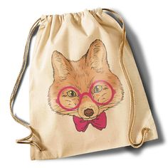"""Intellectual Fox"" Cotton Gymsack von MAD IN BERLIN auf DaWanda.com"