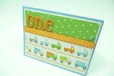 Boy's First Birthday  Card, 1st Birthday Greeting Card, Little Boy Truck Card, Handmade Paper Greeting Card. $4.00, via Etsy.