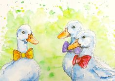 Original watercolour painting.illustrationducks by marilysartnest