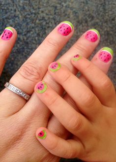 Watermelon Nails Mom & Me  Little girl's nails #nailart #jamberrynails #diynails