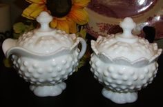 Milk Glass- Cream and Sugar set  Vintage Fenton Hobnail