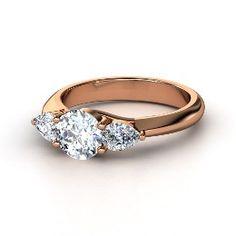 Triad Ring, Round Diamond Rose Gold Ring from Gemvara