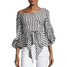 Johanna Ortiz Santa Rosa Striped Top ($995) ❤ liked on Polyvore featuring tops, off the shoulder tops, striped off-the-shoulder tops, striped top, stripe 3/4 sleeve top and 3/4 length sleeve tops
