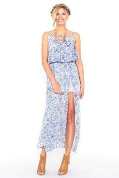 The Sugarlips Daydream Maxi Dress is a gorgeous blue printed maxi dress with a layered tank. Stretch band at waist. Super high front slit. Partially lined. Adjustable straps. Price : $66.00 #MyLuluCloset #Sugarlips #NewArrivals