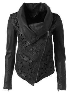 Black leather jacket, with a lace twist: Muubaa Turan Laser Cut Leather Cardigan. It's retro-futuristic, with that hipster scarf look in jacket form.