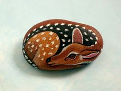 Terrarium fairy garden art-deer-miniature painted rocks by RockArtiste on Etsy