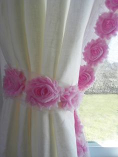 Baby Room Curtains with pink flowers or perfect window panels for girls room  $176  #Girls curtains, #baby nursery, #baby decor, #nursery ideas, #baby curtains