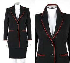 ESCADA MARGARETHA LEY 2 Pc Black Wool Red Piping Detail Blazer Skirt Suit Set 36 #ESCADA #SkirtSuit