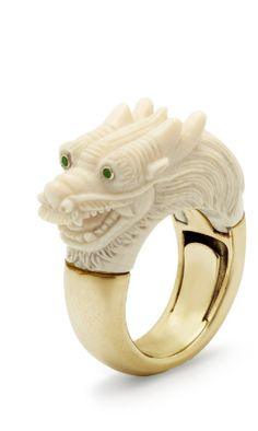 Shop now. Bibi van der Velden Dragon ring golden shank cocktail ring. Vogue approved. The dragon mammoth ring is one of the rings in Bibi van der Velden her mammoth animal collection. The dragon ring is very wearable but still stands out and is a true conversation piece. Made of mammoth ivory, 18ct yellow gold and green tsavorites.
