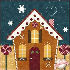 Blessings of Christmas Night BOM - Block of the Month, Would make a cute table runner. This at each end and blocks for path to each house in the center.