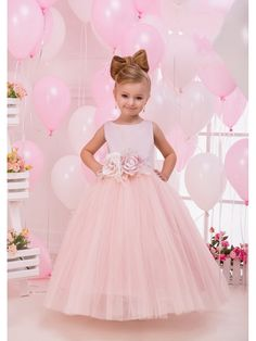 Cute Pink Tulle Princess Ball Gown Flower Girl Dresses with Handmade Flowers 5501086