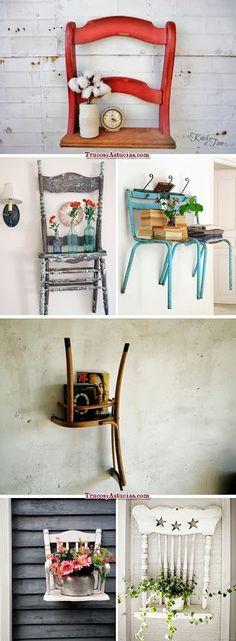 Reciclaje - Vintage chair backs flower pot holders