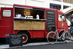 Aux States, les coffee trucks sont tendance vintage ! LaColombe's beautiful Citroen Hy-Van coffee van. Cute!