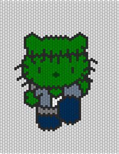 Frankenstein Hello Kitty bead pattern