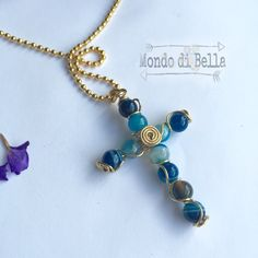 Blue Fire Agate Cross pendant necklace set. Perfect Valentine's Day gift. Blue stone Cross jewelry set. Agate pendant woman jewelry set by MondoDiBella on Etsy