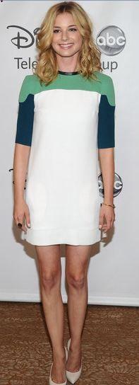 Emily VanCamp wearing DVF