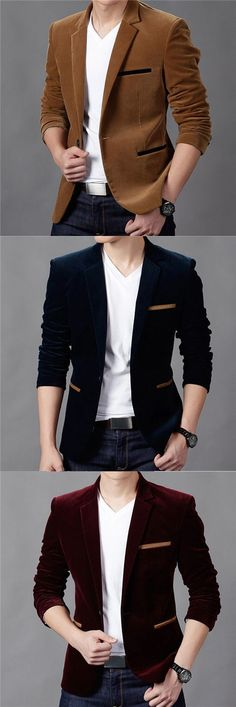 Men's Casual/Daily Vintage Fall Winter Blazer A Mens Fashion Suits, Mens Suits, Trendy Fashion, Blazer Fashion, Casual Fall, Men Casual, Style Masculin, Mens Fall, Mode Inspiration
