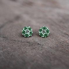 Green Stud Earrings Green Studs Green Jewelry by Naryajewelry