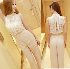 High Quality Korean Style Pearl Lace Decorated Neck Sleeveless Solid Jumpsuits Apricot