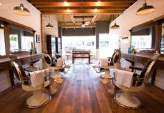 pictures of rustic salons | Exposed wood beamed ceiling and floors are smartly juxtaposed against ...