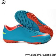 2013 Nike Mercurial Victory III TF turf boots Skyblue orange For Wholesale Nike  Soccer Shoes facab0309d