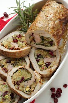 Filetto di maiale  farcito  con spinaci e mirtilli rossi