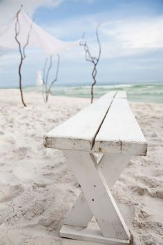 white wooden bench.