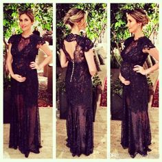 2014 New Design Maternity Gown Celebrity Dresses Sheer Crew Neckline Short Sleeves Long Full Black Lace Formal Gown Evening Dresses XYR294 from Honeymall,$112.42 | DHgate.com