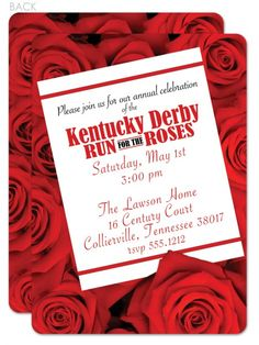 Run for the Roses Kentucky Derby party invitation