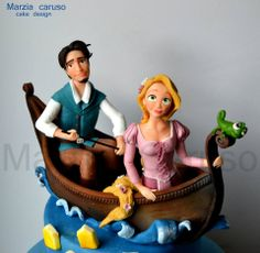 In the boat Fondant Cake Toppers, Fondant Figures, Fondant Cakes, Cupcake Cakes, Tangled Birthday Party, Mermaid Birthday Cakes, Disney Themed Cakes, Disney Cakes, Disney Tangled