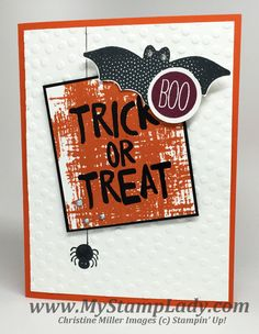 Halloween Card made with the Howl-O-Ween Treat and Cheer All Year sets from Stampin' Up! www.mystamplady.com