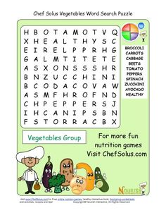 Printable - 10 Word Search Puzzle - Vegetables Group