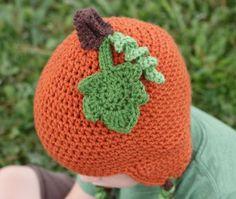 Crochet Pumpkin Beanie Hat - Free Pattern!