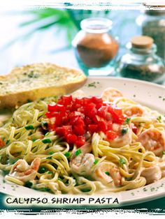 Calypso Shrimp Pasta....We tried this at Bahama Breeze and were hooked so I was super excited when I found the recipe...    I omit the cayenne completely b/c the blackening seasoning I found has it in it already and it's too spicy with both.