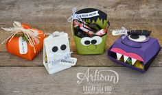 Stampin' Dolce: Trick or Treat creatures using Stampin' Up! Hamburger box, Fry box and Curvy keepsake box