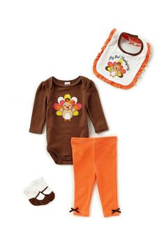 Girls Thanksgiving Turkey 4 piece outfit - adorable for baby's first holiday! #ad #thanksgiving