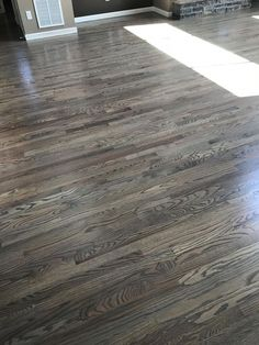 Red oak floors stained with classic gray Oak hardwood flooring is a great choice to increase your home's curb appeal without over spending. Hardwood Floor Stain Colors, Grey Hardwood Floors, Red Oak Floors, Refinishing Hardwood Floors, Grey Flooring, Laminate Flooring, Flooring Ideas, Flooring Types, Floor Refinishing